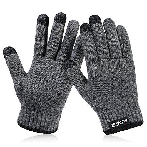 4UMOR Winterhandschuhe, Strick Fingerhandschuhe mit Herrenhandschuhe (S)