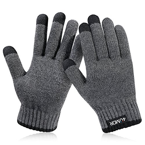 4UMOR Winterhandschuhe, Strick Fingerhandschuhe mit Herrenhandschuhe (M)