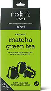 ORGANIC MATCHA NESPRESSO COMPATIBLE CAPSULES (20pk) - INSTANT GREEN TEA MATCHA DRINK - No More Scooping, Whisking or Dust - Japanese Matcha Tea NESPRESSO TEA CAPSULES by Rokit