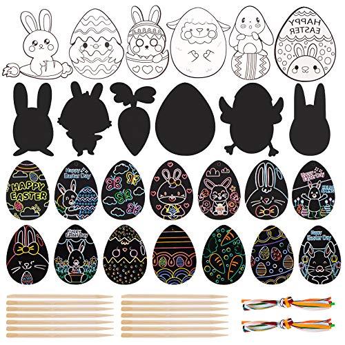 sirecal Scratch Art per Bambini 52 Pezzi Uovo di Pasqua Scratch Carta Rainbow Scraping Art Regalo di Pasqua Decorazione, con 2 Pezzi Stilo in Legno, 14 Pezzi Colorato Corda
