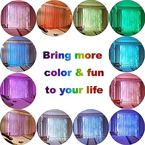 Cadena de luces LED de 3 m para jardín, guirnalda LED de 3 m, USB RGB a todo color para bodas, Navidad, Año Nuevo, fiesta, decoración al aire libre, salón (Color emisor: a todo color, estilo: 3 x 2 m)
