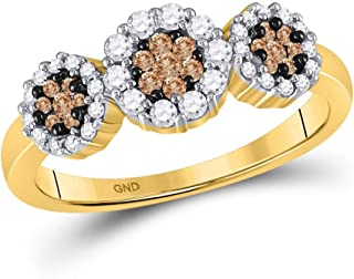 14kt Yellow Gold Womens Round Brown Diamond Cluster Ring 1/2 Cttw Multiple Ring Sizes Available