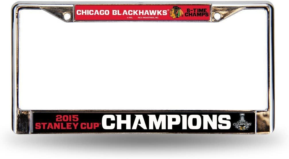 Chicago Blackhawks Chrome License Plate 2015 low-pricing Easy-to-use Frame - Champs