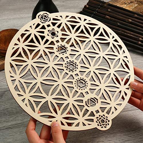 Simurg Wanddekoration aus Holz für Zuhause, Büro, Yoga-Studio (Blume des Lebens 7 Chakra, 29 cm)