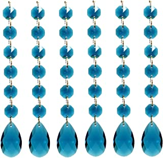 Poproo Teardrop Octagon Crystal Glass Beads Pendant for Chandelier Lamp Curtain Decor, 6-Pack (Peacock Blue)