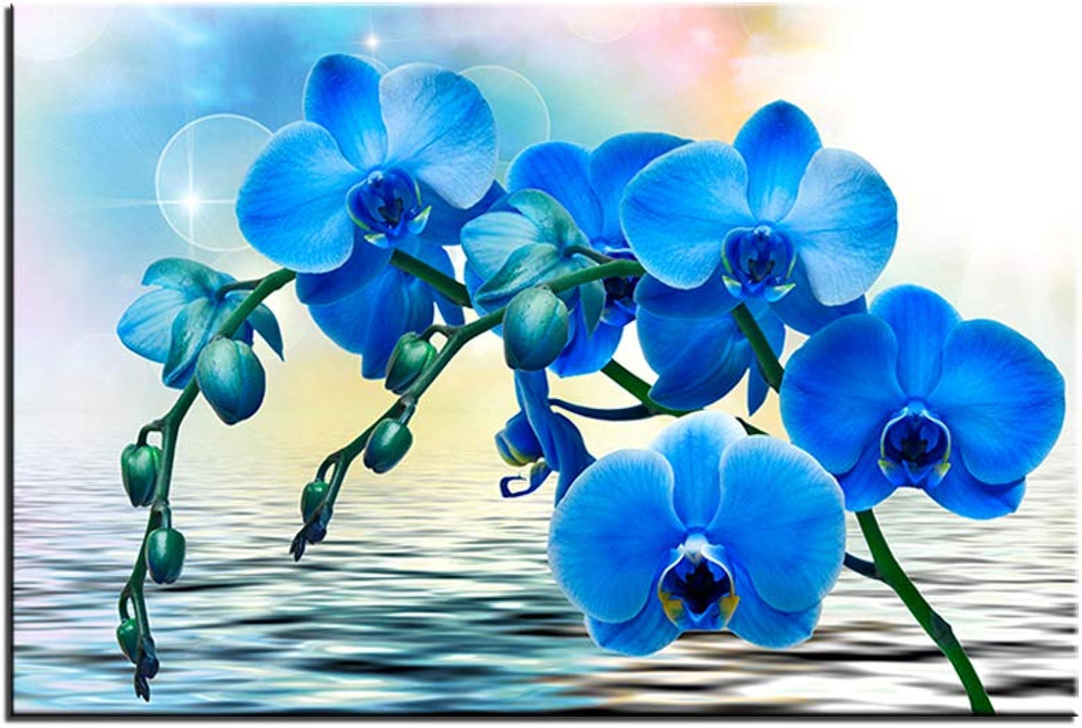 mejor vendido Pinturas De Paisajes Lienzo Grabaños HD Azul Azul Azul Acuarela Flores Cuadros Modulares Arte De La Parojo Cartel Decorativo (con Marco,50x70 cm) (con Marco,50x70 cm)  mejor oferta