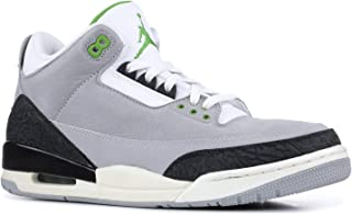 designer fashion 16d30 4986b Jordan 136064-006  Mens Air 3 Retro Tinker Light Grey Chlorophyll Black