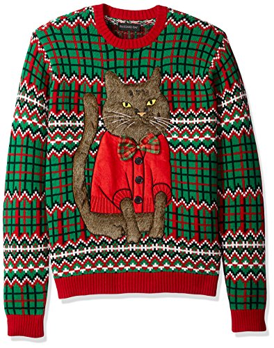 Blizzard Bay Men's Ugly Christmas Sweater Cat, Red/Green, X-Large