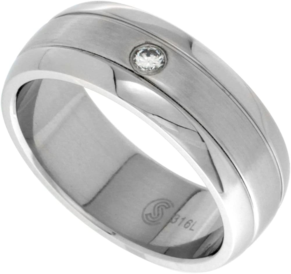 Surgical Stainless Steel 8mm Spasm price Cubic Ring Wedding Band Arlington Mall Zirconia Do