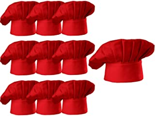 Hyzrz Chef Hat Set of 10 PCS Pack Adult Adjustable Elastic Baker Kitchen Cooking Chef Cap, Red