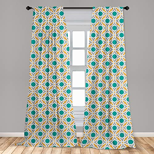 Ambesonne Teal Curtains, Abstract Geometric Pattern Eastern Oriental Symmetric Design Print, Window Treatments 2 Panel Set for Living Room Bedroom Decor, 56' x 84', Mustard Teal