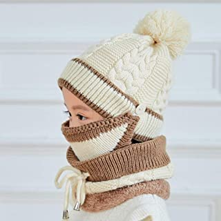 TIMWIL Kids 3-in-1 Cable Knit Pom Pom Beanie Hats Scarf Face Mask Set Thick Windproof Hood Hat with Infinity Circle Loop Scarf Neckwarmer