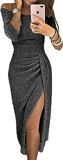 فساتين حفلات للنساء بدون كتف مثير بفتحة مسائية فستان رسمي أنيق