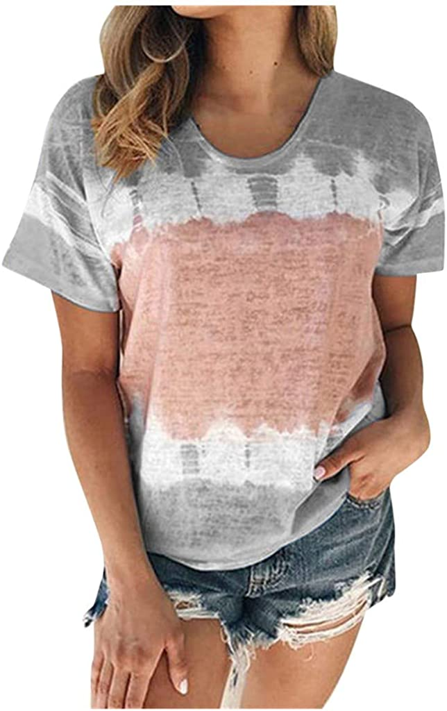 Womens Tshirts Loose Fit,Tie-dye Gradient Print O-Neck Tops T-Shirt Short Sleeve Casual Tunic Blouse Tops