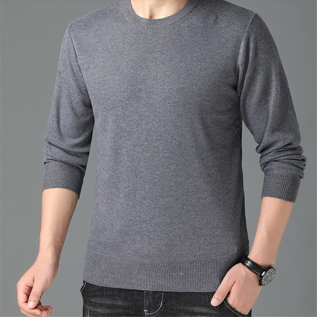 CFSNCM Autum Mens Casual Pullover Winter Knit Sweaters Crew Neck Jumper Men Clothing (Color : Gray, Size : L CODE)
