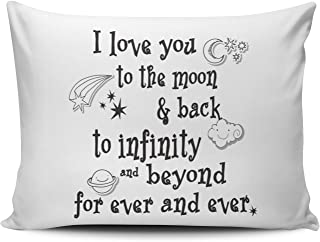Hoooottle Custom White I Love You to the Moon and Back to Infinity Beyond For Ever and Ever Standard Pillowcase Rectangle Zippered One Side Printed 20x26 Inches Throw Pillow Case Cushion Cover