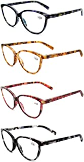Women's Reading Glasses 4 Pack - Stylish Horn Rimmed Readers for Ladies in 4 Tortoise Shell Colors - by Optix 55