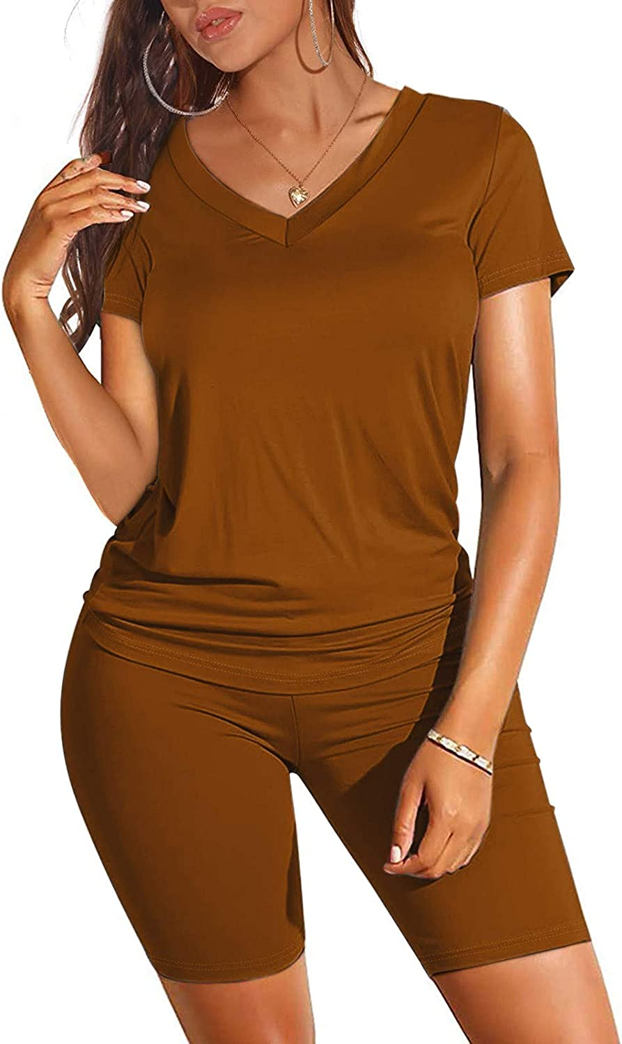 Women's Two Piece Outfits, Workout Sets for Women Seamless Two Piece Outfits Short Sleeve V Neck Biker Shorts Set