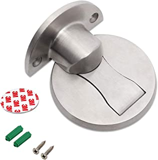 Magnetic Door Stop, Invisible Brushed Satin Nickel Door Stopper Stainless Steel Doorstop with 3M Double-Sided Adhesive Tape [No Need to Drill] (Silver)