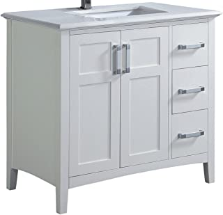 Simpli Home Winston Vanity with Bombay White Engineered Marble Top