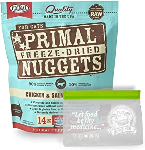 Primal Freeze Dried Cat Food 14 oz with Hippo Paw BPA Free Reusable Food Storage Bag (Ziplock and Leakproof)