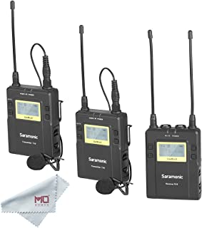 Saramonic UWMIC9 RX9 + TX9 + TX9, 96-Channel Digital UHF Wireless Dual Lavalier Microphone System for PRO camera, DSLR, Camcorder, Smartphone