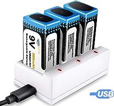 Juego de 3 PCS 9V Pilas Recargables y Cargador de 3 Ranuras 9V Keenstone 800mAh Batería de Litio 9V PP3 Recargable Baja Autodescarga Densidad de Alta Energía 500 Ciclos de Carga (Cable USB Incluido)