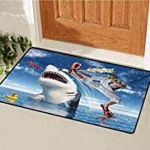 GUUVOR Sealife Commercial Grade Entrance mat Unusual Marine Navy Life Animals Fish Sharks with Karate Kid and Comics Balloon Art for entrances garages patios W35.4 x L47.2 Inch Multicolor
