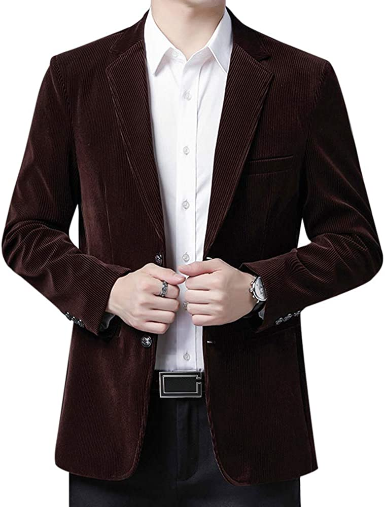 Mens Suit Slim Fit Casual Solid Single-Breasted 2 Buttons Notched Lapel Corduroy Sport Coat Blazer Jacket
