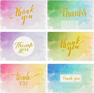48 Thank You Cards with Envelopes | Pure Watercolor with Gilding TEXT White Envelopes | Perfect for Baby Shower Note Cards, Wedding and Bridal Showers Thank You Cards (Pure Watercolor)