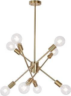 MELUCEE 8 Lights Brass Sputnik Chandeliers Mid Century Modern Light Fixtures Ceiling Hanging, Semi Flush Mount Pendant Lighting for Kitchen Island Dining Room Bedroom Foyer