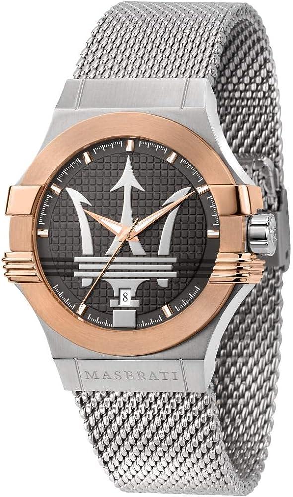 Maserati orologio da uomo, collezione potenza, in acciaio, pvd oro rosa 8033288892335