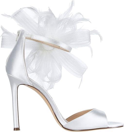 White Crystal Satin/Mesh/Feather