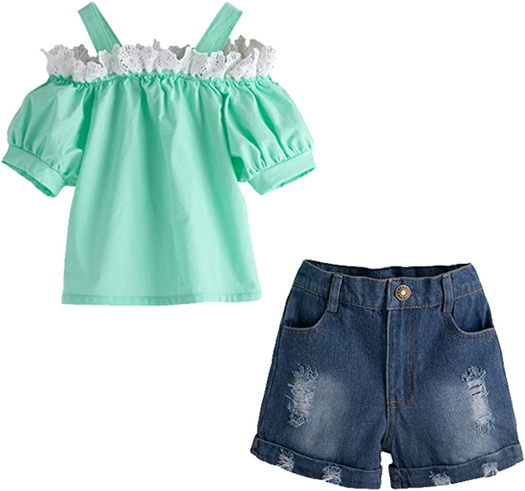 for 1-5 Years,Toddler Baby Girls Solid Lace Off Shoulder Suspender Tops+Denim Shorts Jeans 2pc Summer Outfit Set