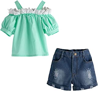 pollyhb Baby Outfits Children Short Sleeve Lace Panel Top + Fashion Shredded Denim Shorts Outfit Set
