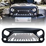 Xprite Front Grille Matte Black Grill with Monster Teeth Steel Mesh for 2007-2018 Jeep Rubicon Sahara Sport JK JKU