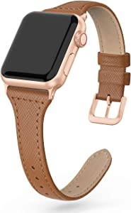 SWEES Leather Band Compatible for Apple Watch 41mm 38mm 40mm, Slim Thin Dressy Elegant Genuine Leather Strap Compatible with iWatch Series 7 6 5 4 3 2 1 SE Sport Edition Women
