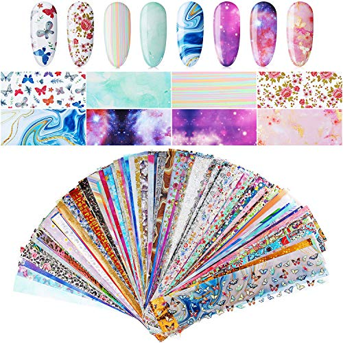 300 Sheets Nail Art Foil Transfer Sticker Set Laser Flower Nail Polish Foil Adhesive Decals Butterfly Starry Sky Star Flower Marble Pattern for Women Girls DIY Nail Art Decoration