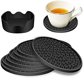 YISK Store Coasters For Drinks - Set of 6 with Holder, Black - Protect Furniture From Water Marks or Damage - Deep Tray an...