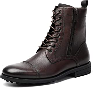 Cestfini Non-silp Leather Combat Boots for Men - Casual Motorcycle Boots with 2 Side Zipper, Lace Up Cap Toe Boots
