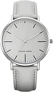 Waterproof Watch Brown Green White Women's Girl Lady Unproblematic Ultra-Thin 8mm Quartz Watch 40mm Leather Strap Fashion Raincoat 3ATM (Color : White)