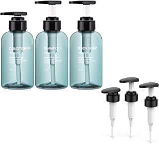 3pcs Bathroom Dispenser Bottles with 3pcs Replaceable Pump Heads, Segbeauty 10.1oz/300ml Refillable Lotion Bottles for Liq...