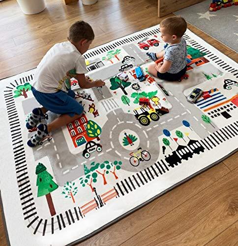 Kinderteppich Kinderzimmer, Stadtleben,ideal zum Spielen mit Autos, für Schlafzimmer, Spielzimmer, Teppich, weich, groß, 150x195 cm