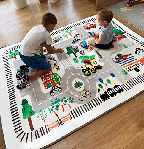 nexace Kids Rug Play Mat, City Life Great for Playing with Cars for Bedroom Playroom,Carpet,Soft Large Size,4.9x6.4 FEET (4.9