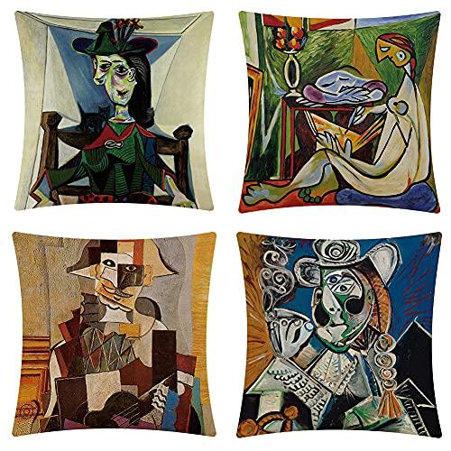 4 fundas de cojín decorativas de 45 x 45 cm, diseño abstracto vintage de personaje de Picasso, fundas de almohada para sofás modernos, dormitorio, oficina, jardín, decoración