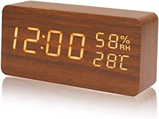 目覚まし時計,Galopar 置き時計 大音量 音声感知 デジタル おしゃれ LED 多機能 アラーム カレンダー 温度湿度 省エネ 木目調 卓上寝室台所用 プレゼント