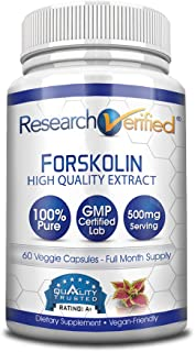 Research Verified Forskolin - 60 Capsules (One Month Supply) - 20% Standardized Forskolin - 500mg/day - 365 Day 100% Money Back Guarantee - Try Risk Free for Fast and Easy Weight Loss