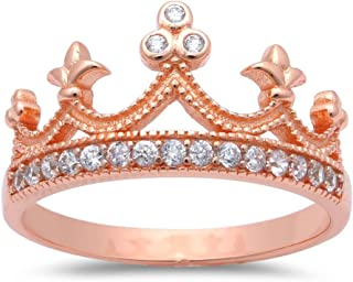 Sterling Silver Round Cubic Zirconia Crown Princess Tiara Ring Sizes 4-12 Three Colors Available