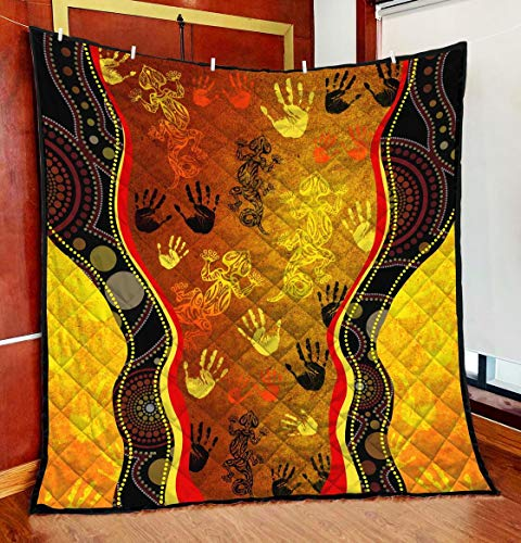 Personalized Aboriginal Rock Painting Hand Lizard Australia Art Golden Style Quilt to My Mom Dad Wife Husband Kids Son Daughter Quilt Sets Home Decor King Queen Twin Throw Size Soft Warm All