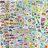 Autos & Tiere Sticker-Packs für Kinder, 24 Bögen ohne Wiederholungsmuster mit Autos, Flugzeugen,...